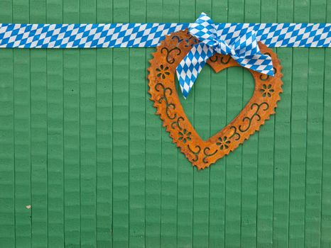 Rusty heart on green
