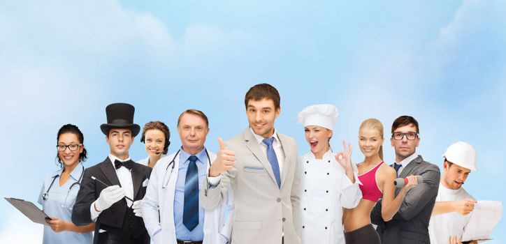 professions and people concept - group of people including doctor, nurse, magician, cook, personal trainer