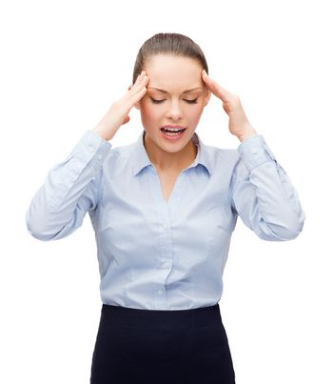 upset businesswoman having headache