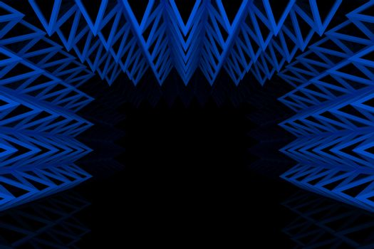 Abstract blue triangle truss wall