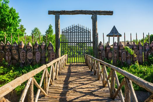 old wooden bridge to the ancient fortress