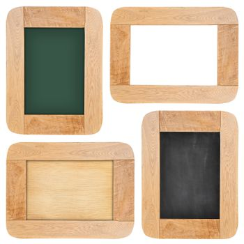 Collection of Old chalk board with wood frame isolated on white background
