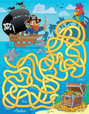 Maze 1 with pirate and treasure