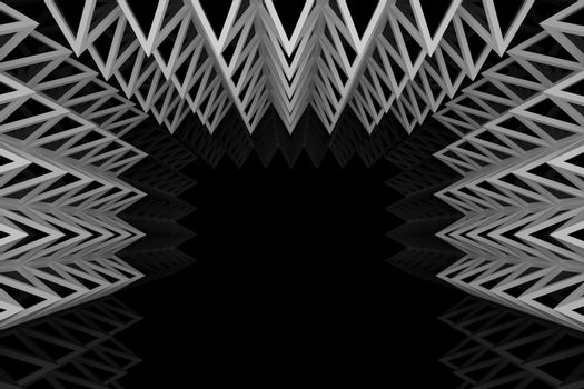 Abstract silver triangle truss wall