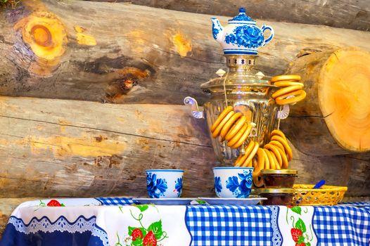 traditionally shining Russian samovar on the table