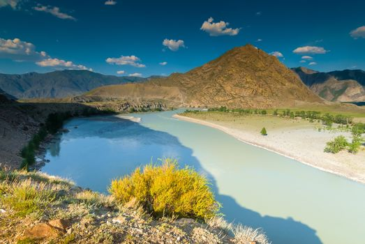 Altai mountains and beautiful river Katun