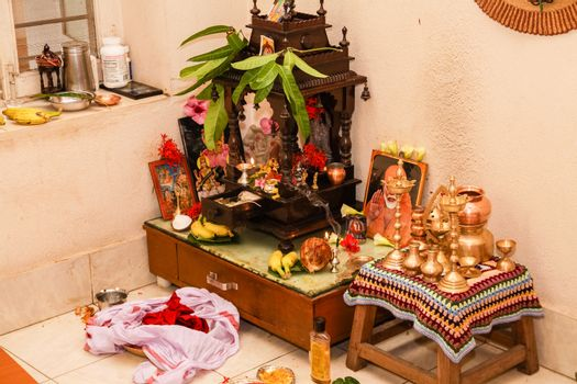 Typical Prayer Room Hindu South Indian Family Home