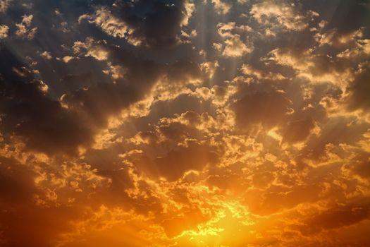 Golden Dawn Skies Cumulus Clouds
