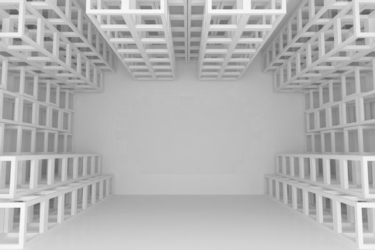 Abstract white square truss wall