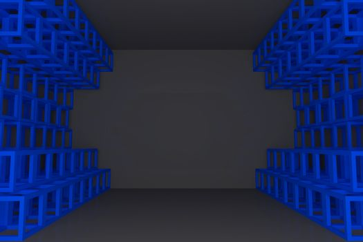 Abstract blue square truss wall