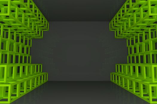Abstract green square truss wall