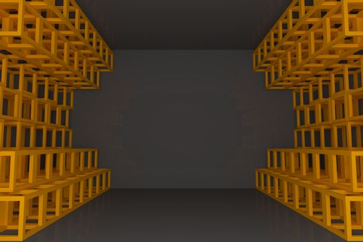 Abstract orange square truss wall