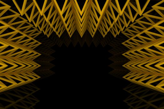 Abstract orange triangle truss wall