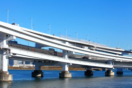 Freeway with sea in Tokyo