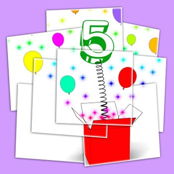 Number Five Surprise Box Displaying Surprise Party Or Festivity