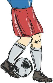 hand drawn, sketch, cartoon illustration of soccer player