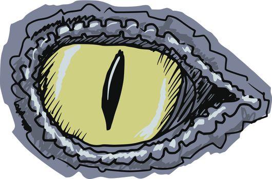 hand drawn, sketch, cartoon illustration of eye of crocodile