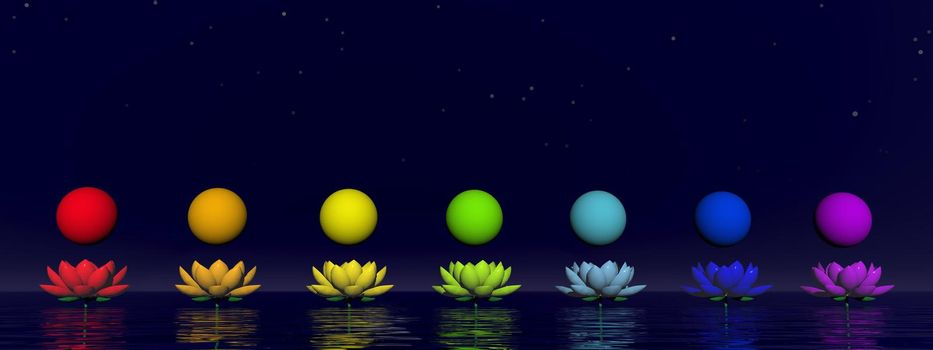 Colorful spheres for chakras upon beautiful lily flowers by night