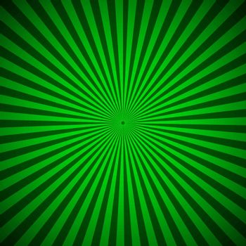 Green radial rays abstract background, vector illustration