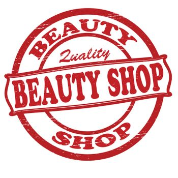 Stamp with text beauty shop inside, vector illustration