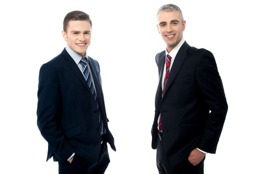 Young business partners isolated on white