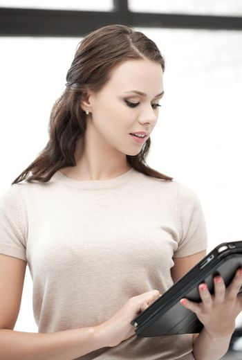 woman with tablet pc computer or touchpad