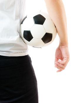 Backward of businessman holding soccer ball