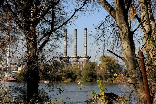 Heating plant on the coast of Sava river,Belgrade,Serbia
