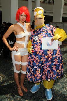 Maitland Ward and Homer Simpson at Long Beach Comic-Con, Long Beach Convention Center, Long Beach, CA 05-31-14/ImageCollect