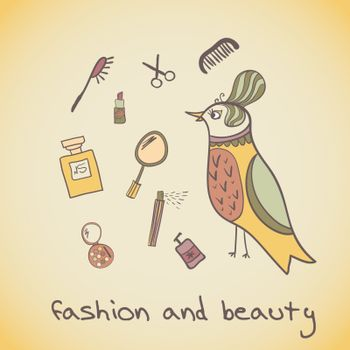 Postcard illustration of a beautiful bird. Attributes beauty. makeup cosmetics and fashion beautiful bird