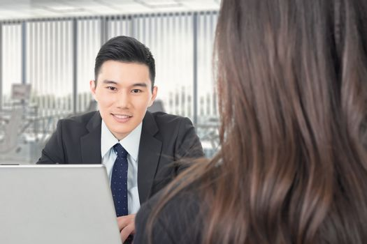 Asian young business man consulting