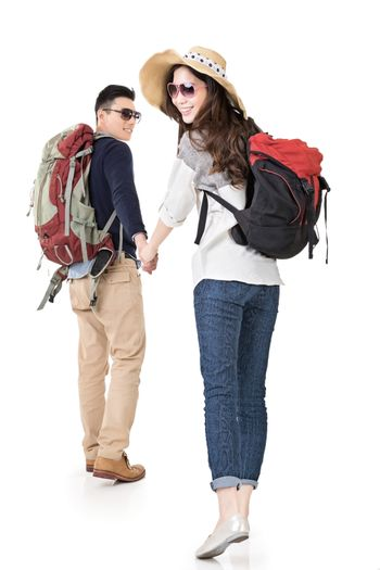 Asian young traveling couple