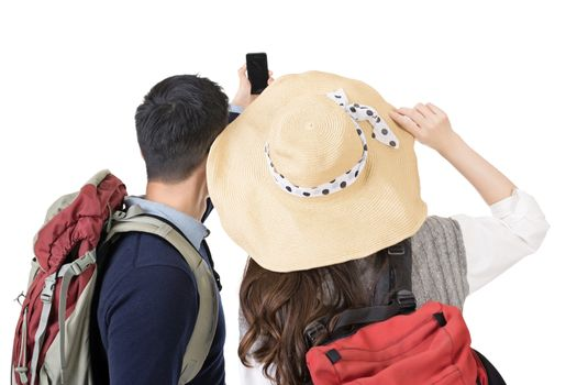Asian young traveling couple selfie
