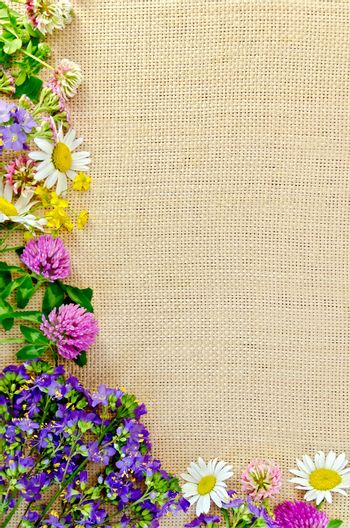 Frame of wild flowers on sackcloth 1