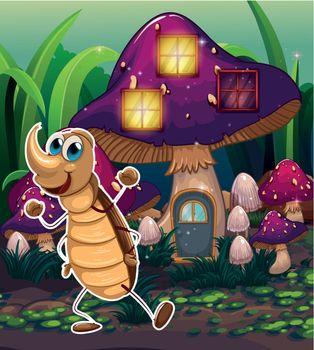 A cockroach near the violet mushroom house