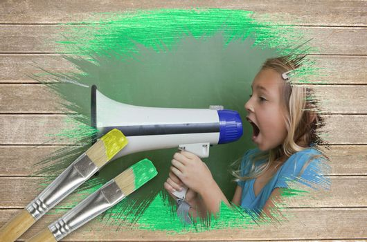 Composite image of little girl with bullhorn