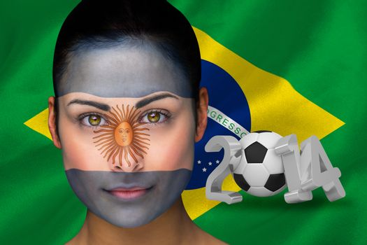 Argentina football fan in face paint