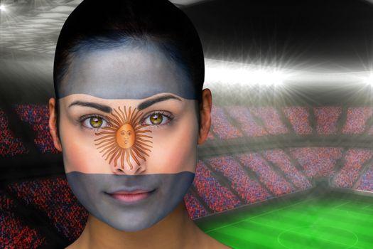 Beautiful argentina fan in face paint