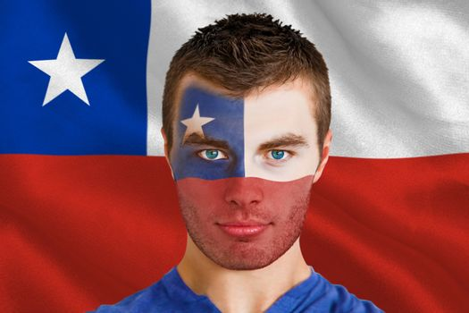 Serious young chile fan with facepaint