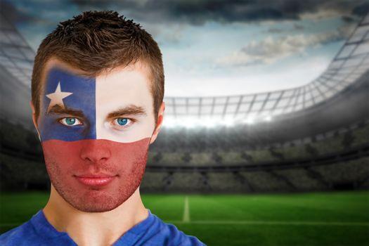 Chile football fan in face paint