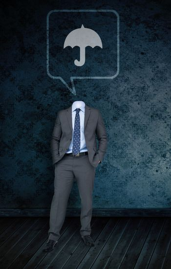 Composite image of headless businessman with umbrella in speech bubble against dark grimy room