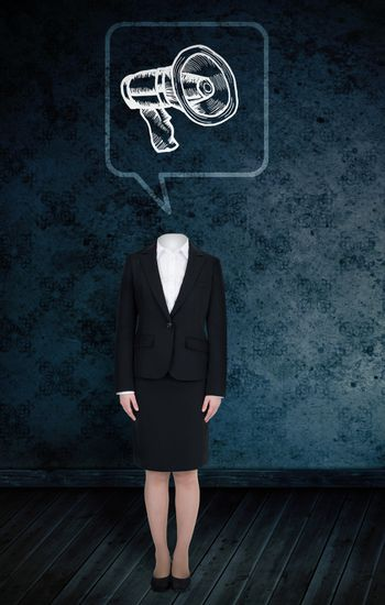 Composite image of headless businesswoman with megaphone in speech bubble against dark grimy room