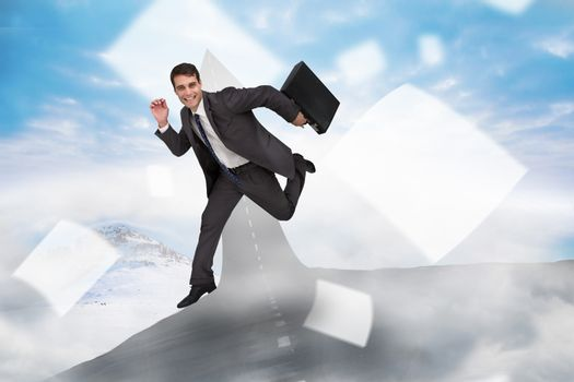 Composite image of cheerful businessman in a hurry