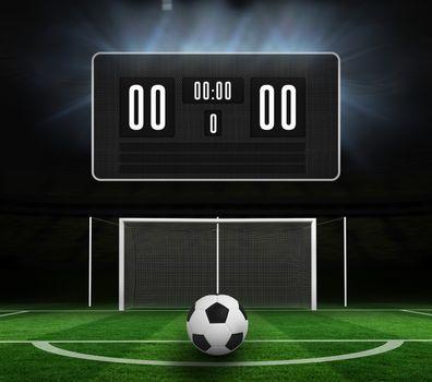 Black scoreboard with no score and football