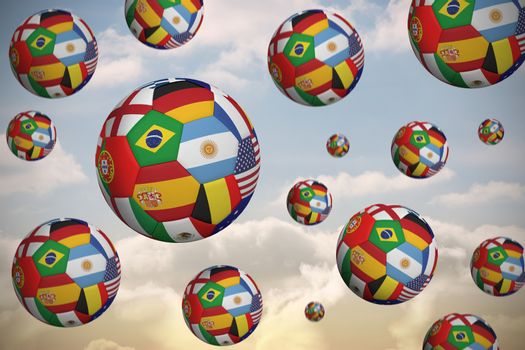 Footballs in international flags