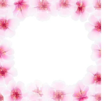 Cherry Flower Frame With Blur, With Gradient Mesh, Vector Illustration
