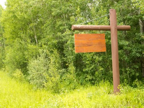 Empty rustic wooden sign with copyspace ready for your text message, hanging on pole with dense green forest background