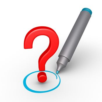 3d question mark is selected with circle by a marker