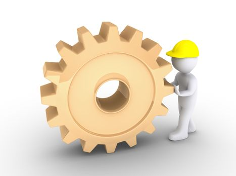 3d person as worker is pushing a big cogwheel