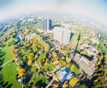 "Fall 1992, Fisheye aerial view of Dortmund, Germany, Europe, cityscape from ""Florian"" or ""Florian tower"", Dortmund's TV tower in Westphalia Park (Westfalenpark)"